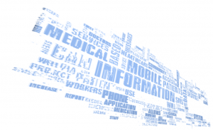 Word cloud of the most common words in 1,141 mHealth project names in GSMA's mHealth Tracker