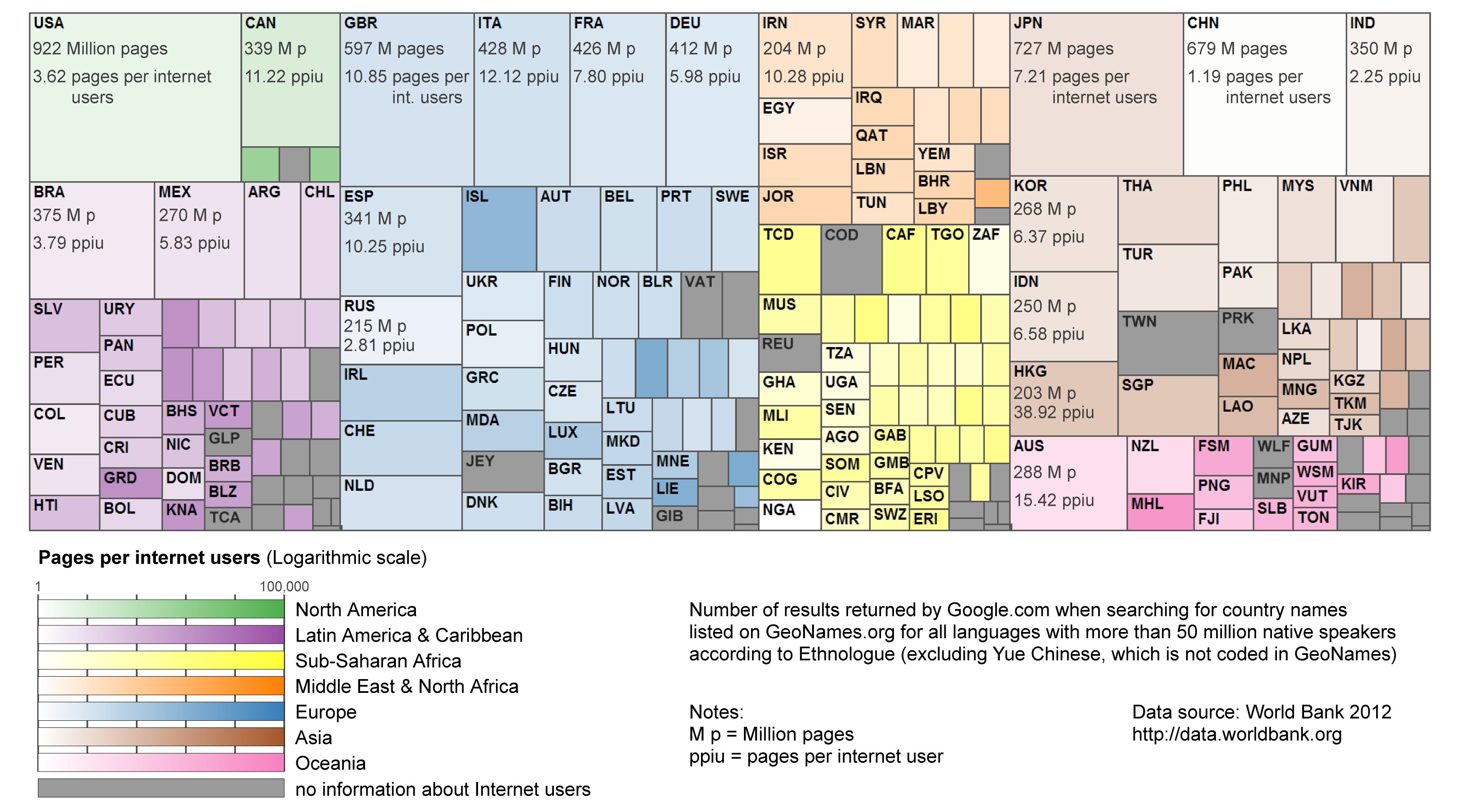 Map of Google search results