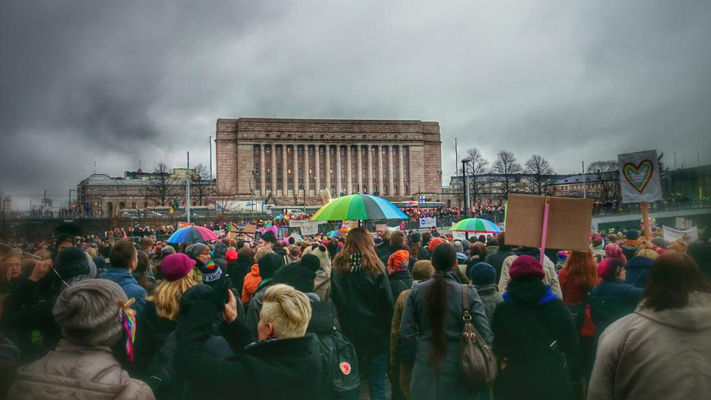 November rainbows in front of the Finnish parliament house in Helsinki, one hour before the vote for same-sex marriage. Photo by Anne Sairio.