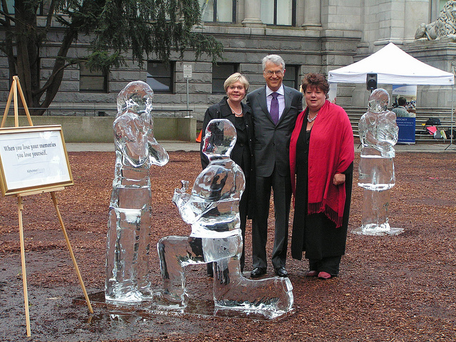 Online forums are important means of people living with health conditions to obtain both emotional and informational support from this in a similar situation. Pictured: The Alzheimer Society of B.C. unveiled three life-size ice sculptures depicting important moments in life. The ice sculptures will melt, representing the fading of life memories on the dementia journey. Image: bcgovphotos (Flickr)