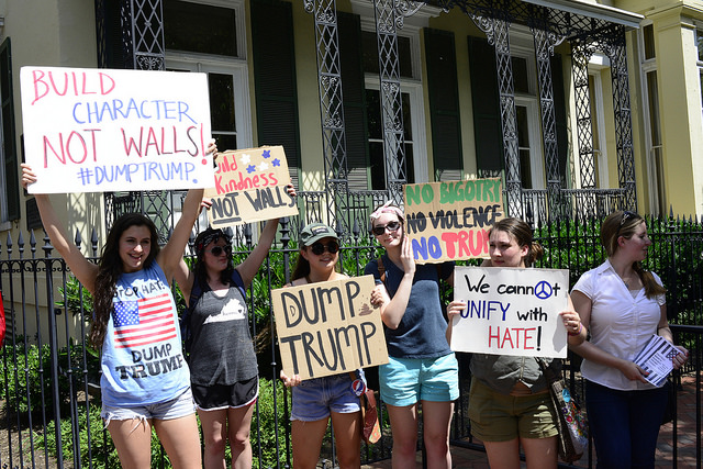 Young activists gather at Lafayette Park, preparing for a march to the U.S. Capitol in protest at the presidential campaign of presumptive Republican nominee Donald J. Trump. By Stephen Melkisethian (Flickr).