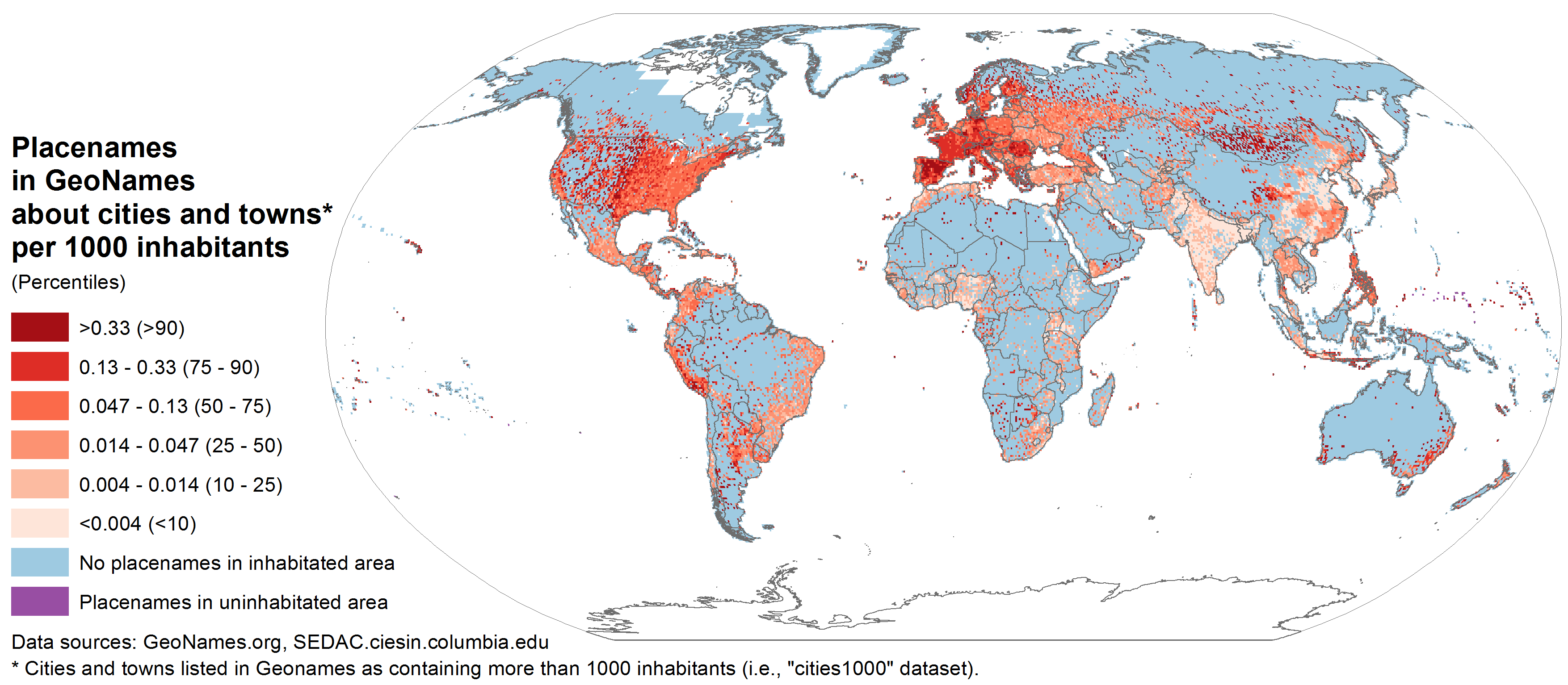 Spatial distibution of placenames in GeoNames included in the dataset of populated places with more than a thousand inhabitants, compared to the spatial distribution of population